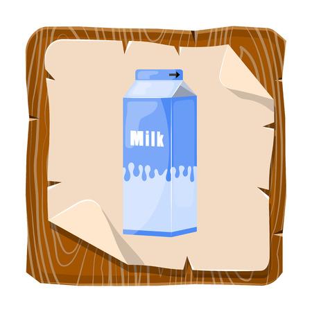 Paquete de la leche colorido icono. Ilustración del vector en estilo de dibujos animados