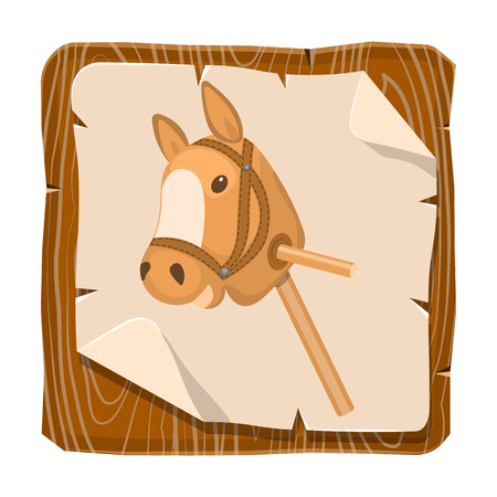 Horse toy colorful icon. Vector illustration in cartoon style Illustration