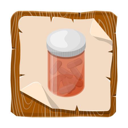 pill box: Pill box icon. Vector illustration in cartoon style