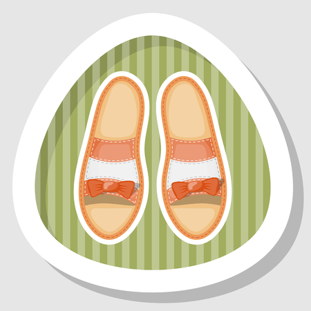 brogues: Woman shoes colorful icon. Vector illustration in cartoon style