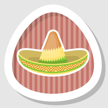 brimmed: Mexican hat colorful flat icon. Vector illustration in cartoon style Illustration