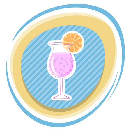 soda splash: Cocktail colorful icon. Vector illustration in cartoon style