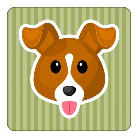 Leuke hond kleurrijke icoon. Vector illustratie in cartoon-stijl