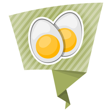 boiled egg: Vector icon sliced boiled egg in cartoon style