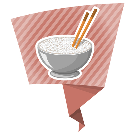 chopstick: Vector colorful illustration of a Rice Bowl and chopstick