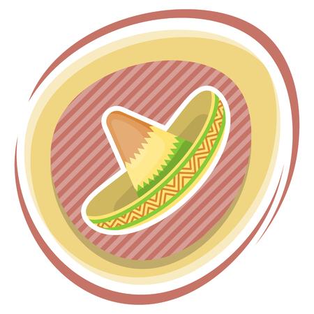 sombrero mexicano colorido icono plana. Ilustración del vector en estilo de dibujos animados