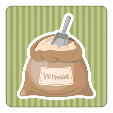 burlap bag: Wheat bag icon. Vector illustration in cartoon style