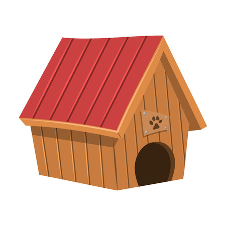 wooden door: Doghouse colorful icon. Vector illustration in cartoon style Illustration