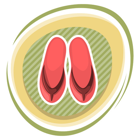 beach slippers: Beach slippers colorful icon. Vector illustration in cartoon style