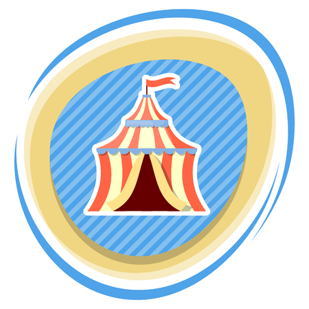 cirque: Circus tent colorful icon. Vector illustration in cartoon style