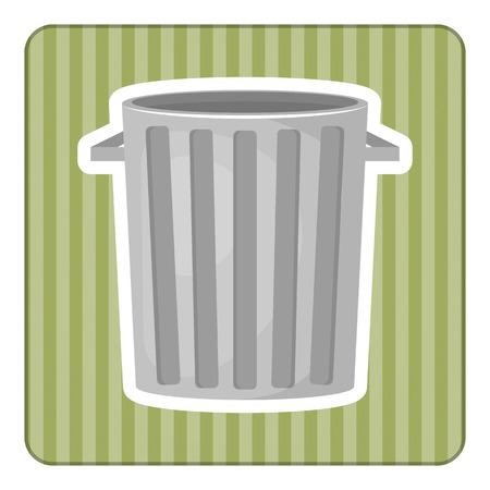 sewage: Trash bin colorful icon. Vector illustration in cartoon style