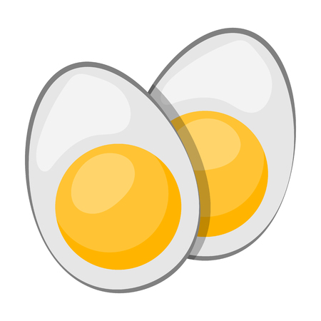 boiled: Vector icon sliced boiled egg in cartoon style