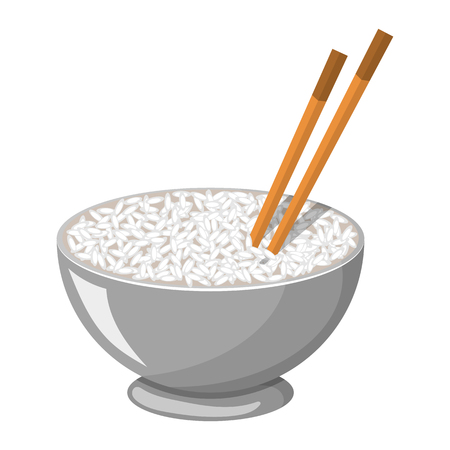 chop sticks: Vector colorful illustration of a Rice Bowl and chopstick