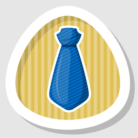 taylor: Blue tie colorful icon. Vector illustration in cartoon style