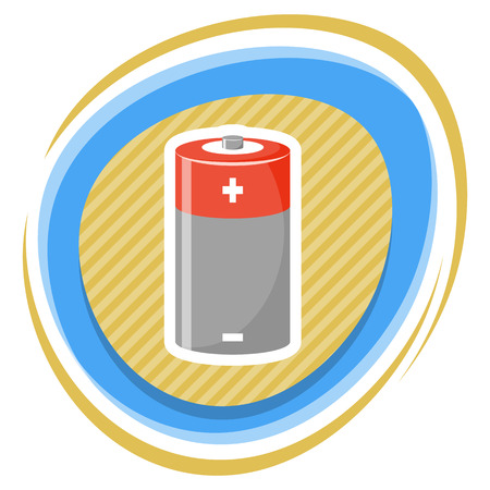 cylinder: Cylinder battery icon. Vector illustration in cartoon style Illustration