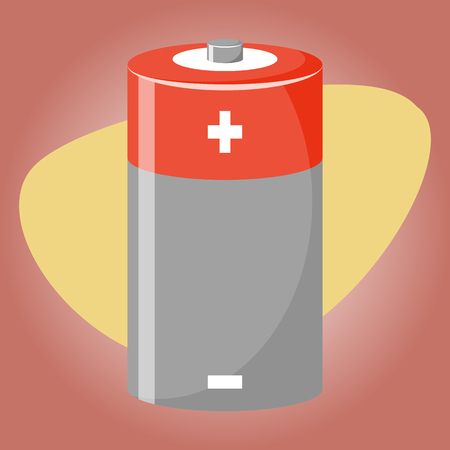 cadmium: Cylinder battery icon. Vector illustration in cartoon style Illustration