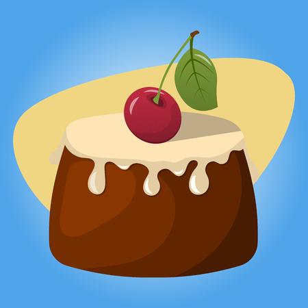 vanilla pudding: Pudding with fresh cream and a cherry. Vector illustration in cartoon style