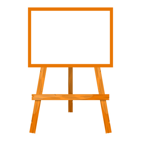blank canvas: Wooden easel with a blank canvas. Cartoon style style