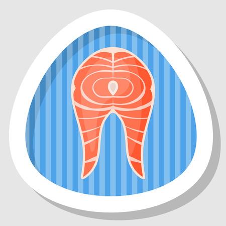 salmon steak: Salmon steak icon. Vector illustration in cartoon style Illustration