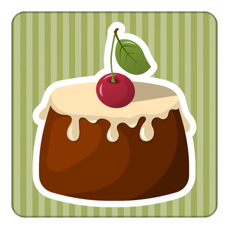 sweetened: Pudding with fresh cream and a cherry. Vector illustration in cartoon style