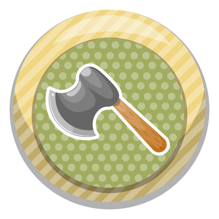 Axe colorful icon. Vector illustration in cartoon style Illustration