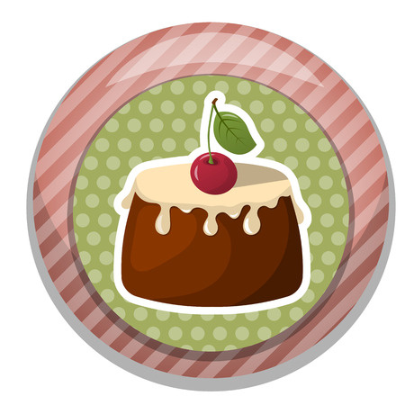 flavorful: Pudding with fresh cream and a cherry. Vector illustration in cartoon style