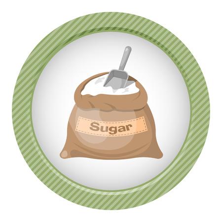Sugar bag icon. Vector illustration in cartoon style Illustration