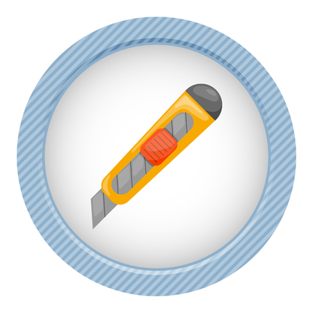 box cutter: Cutter colorful icon. Vector illustration in cartoon style