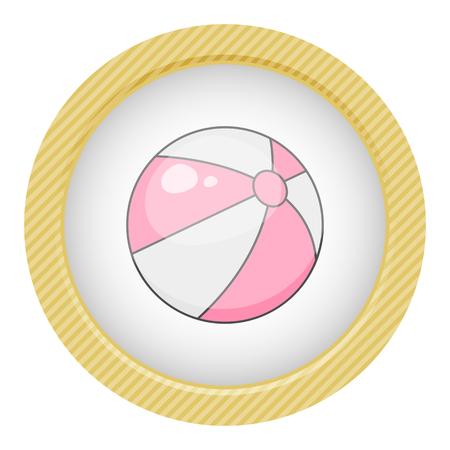 Beach ball colorful icon. Vector illustration in cartoon style Illustration