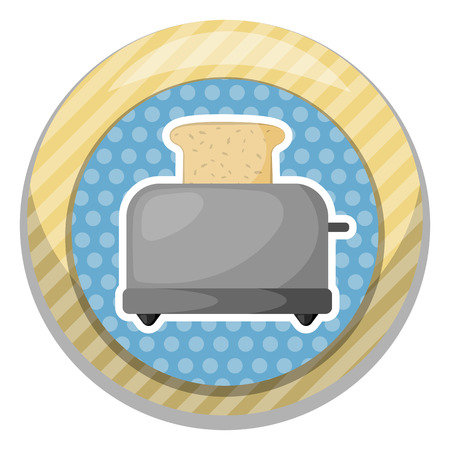 toasted sandwich: Bread toaster colorful icon. Vector illustration in cartoon style Illustration