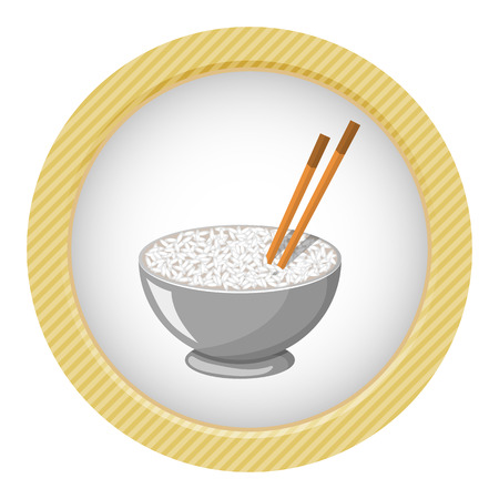 brown rice: Vector colorful illustration of a Rice Bowl and chopstick