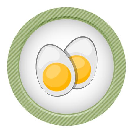 icono del vector de rodajas de huevo cocido en estilo de dibujos animados