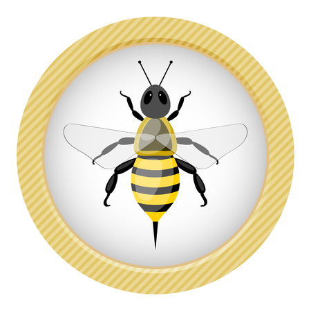 Bee colorful icon. Vector illustration in cartoon style Illustration