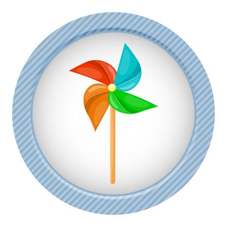 Ilustración del vector en estilo de dibujos animados. molinillo de viento molino de viento de papel