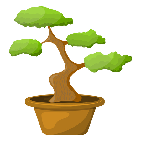 Bonsai in the pot. Vector illustration in cartoon style
