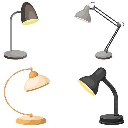 Set of table lamps. Vector illustration