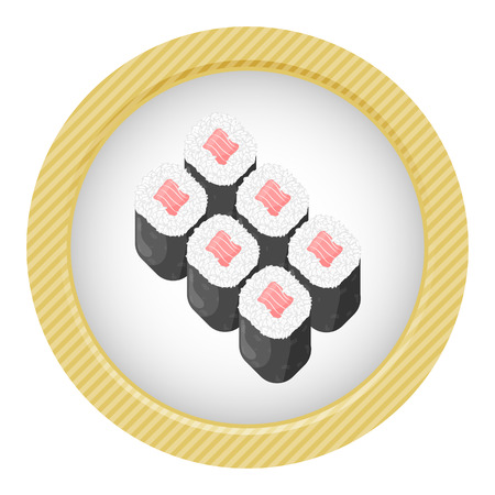 Vector illustration of sushi rolls, white background