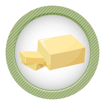 Sliced Margarine block. Baking ingredient butter or margarine stick