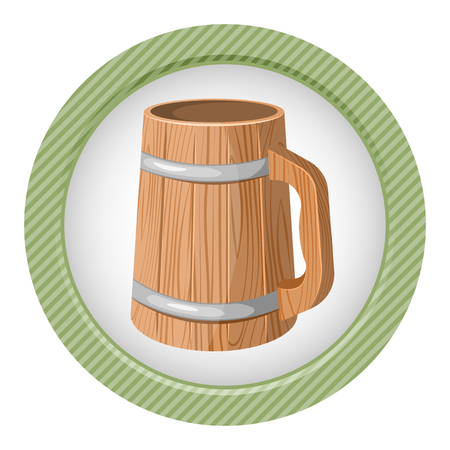 Illustration of wooden beer mug on white background