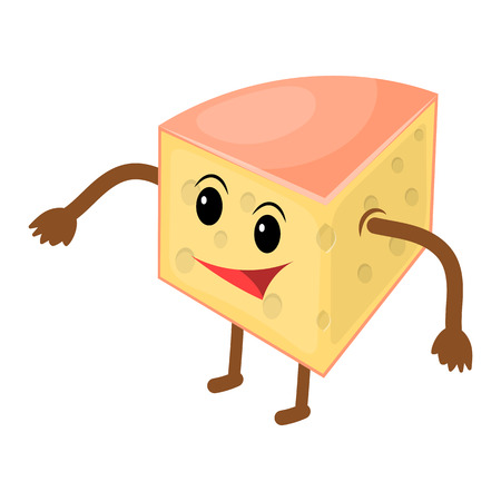 Happy cartoon cheese man. Vector illustration