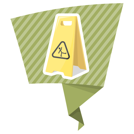 janitorial: Wet floor illustration in cartoon style