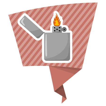 Silver gasoline lighter with burning flame on white background Illustration