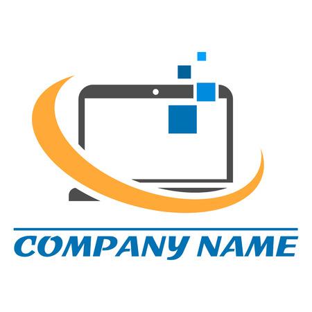 informatics: Computer creative logo, vector illustration eps 10 Illustration