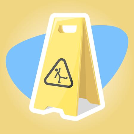wet floor sign: Wet floor illustration in cartoon style