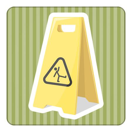 janitorial: Wet floor illustration in cartoon style. eps 10