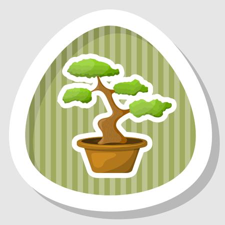 bonsai: Bonsai in the pot. Vector illustration in cartoon style