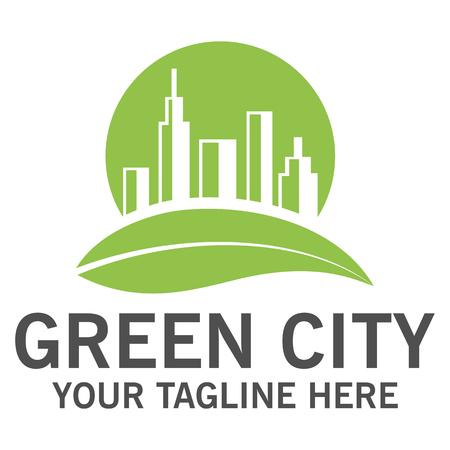 solarpower: Green city logo