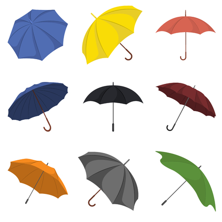 Umbrellas colorful set Иллюстрация
