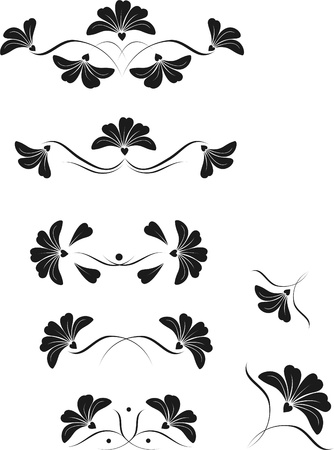 elegant ornament of flowers and leaves are different variations Vector