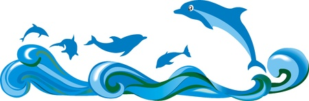 Jumping over the waves, dolphins in the sea Vector